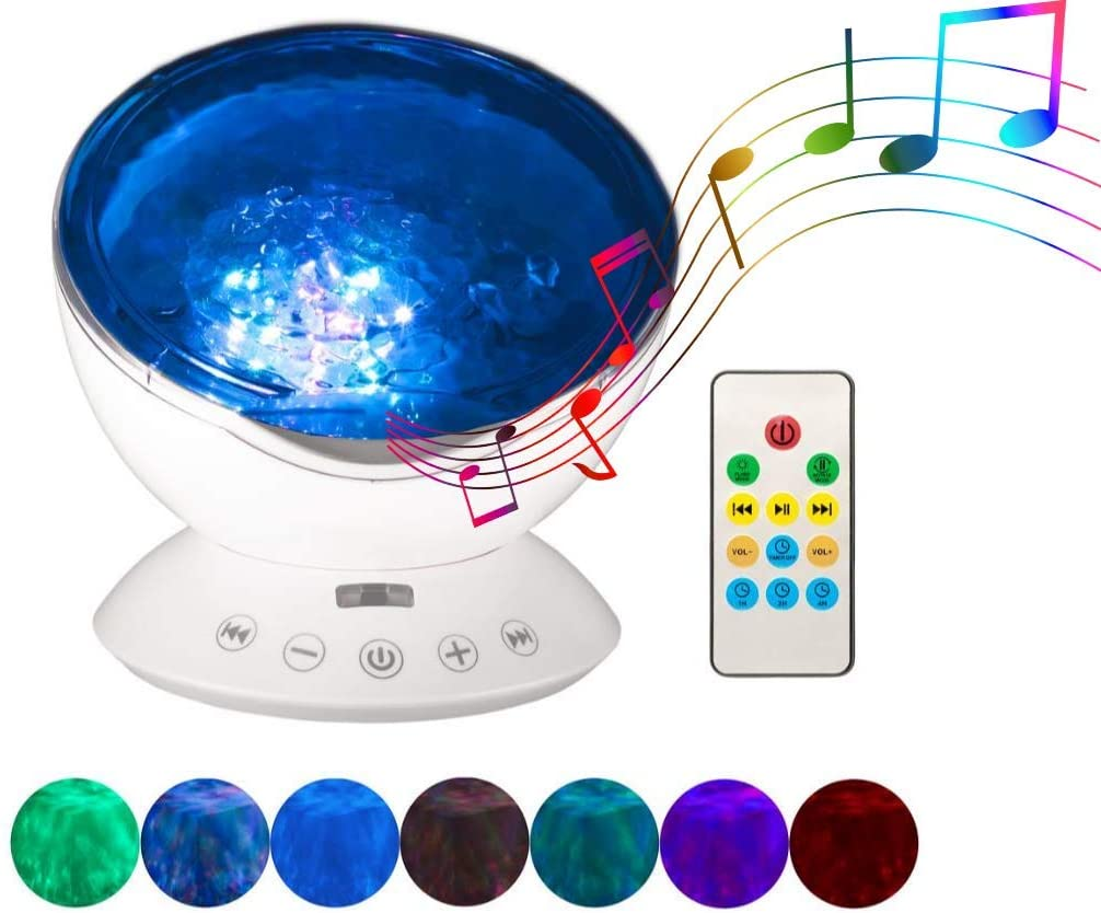 Nite Night Lite, Ocean Wave Projector & Night Light, Projector, Sound Machine | Neat Projector| Acts as White Noise Machine | Kids Night Light | Led Night Light & Music Player (White)