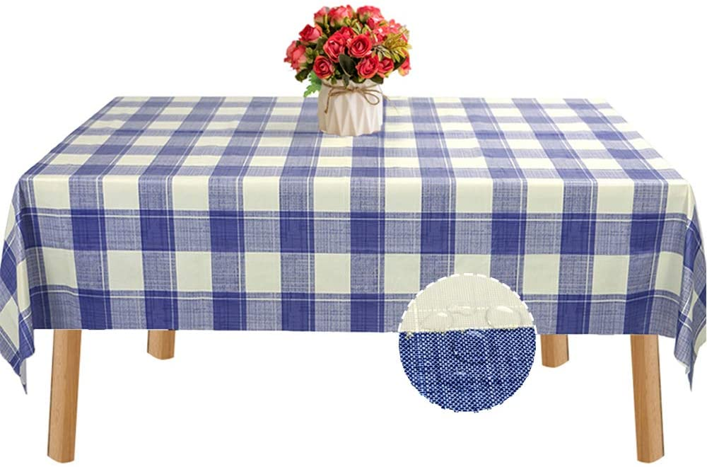 BEAUTYTREES Table Cloth Waterproof Oil-Proof Tablecloth PVC Spillproof Table Cover for Indoor Outdoor Camping Picnic Rectangular (Blue & White Checker, 54x54 inch)