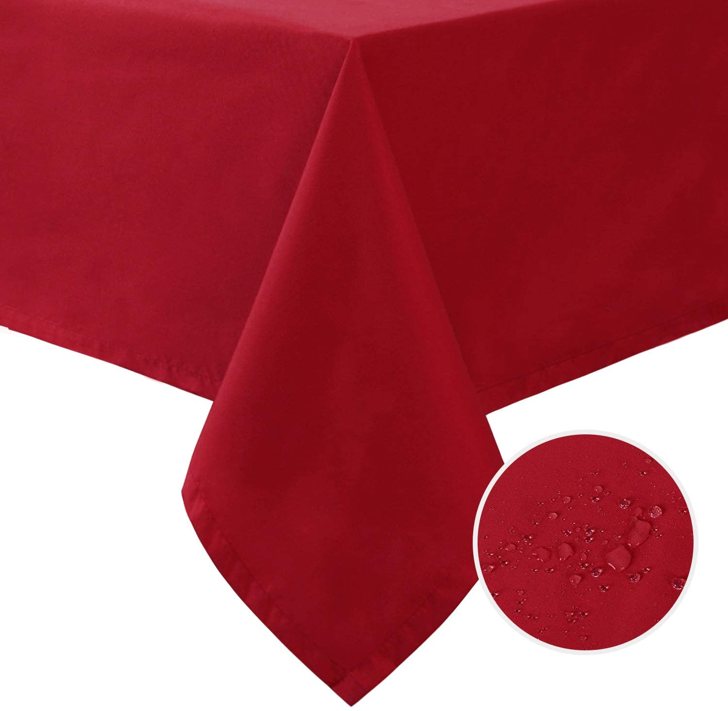 Hiasan Leakproof Square Tablecloth with Black TPU Backing - Water Resisitant Stain Resistant Washable Polyester Table Cloth for Kitchen and Dining Room, Burgundy, 54 x 54 Inch