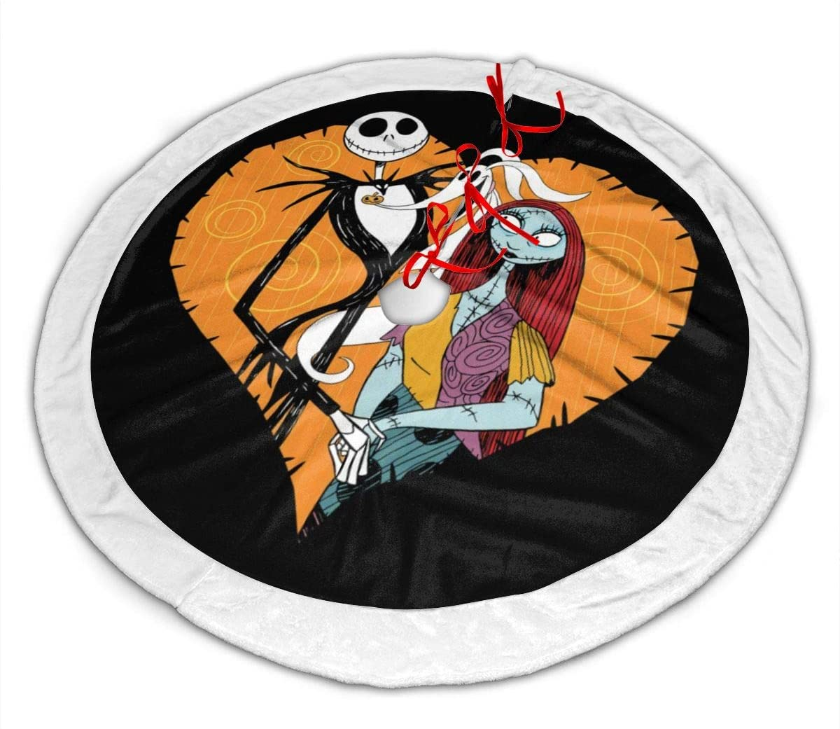 ASO-SLING The Nightmare Before Christmas Merry Christmas Tree Skirt Winter Xmas Tree Mat with Plush Faux Fur Trim Holiday Party Decorations Themed with Christmas Ornaments