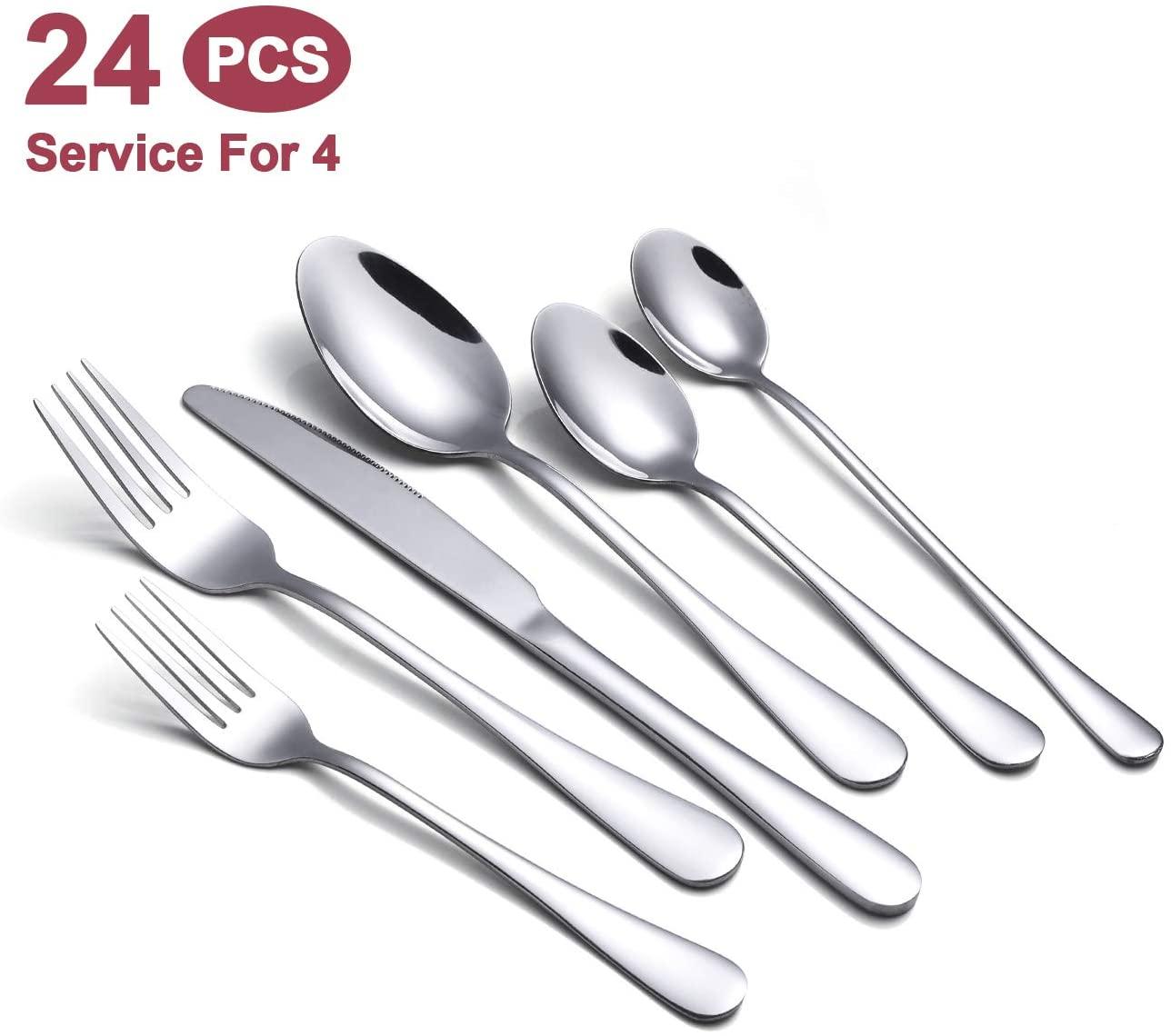 Silverware Set,24-Piece Stainless Steel Flatware Set,Cutlery Tableware Set For 4,Mirror Finish,Dishwasher Safe