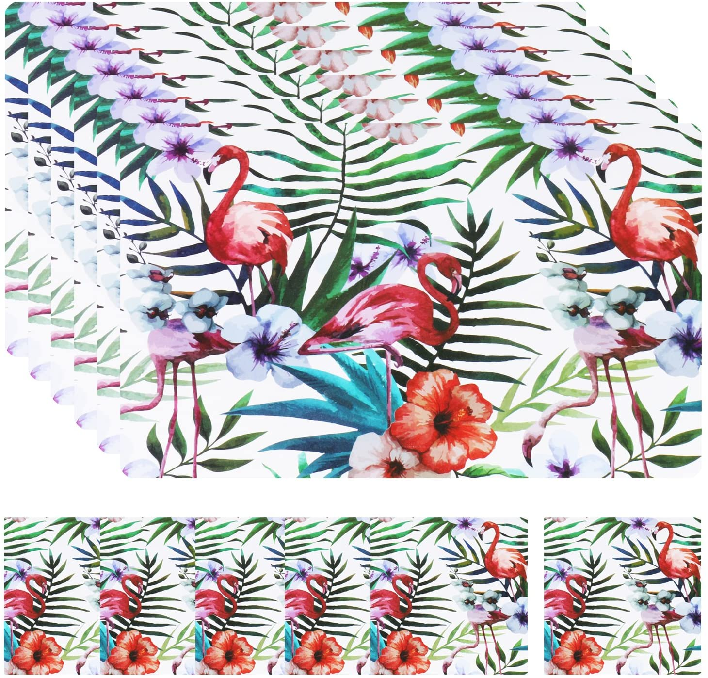 Olen Plastic Placemats Kitchen Table Place Mats for Kitchen Dining Table Set of 6 + 6 Coasters Flamingo