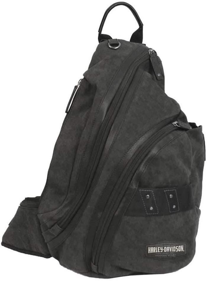 Harley-Davidson C4 Collection H-D Sling Backpack, Cotton Canvas w/Leather Trim