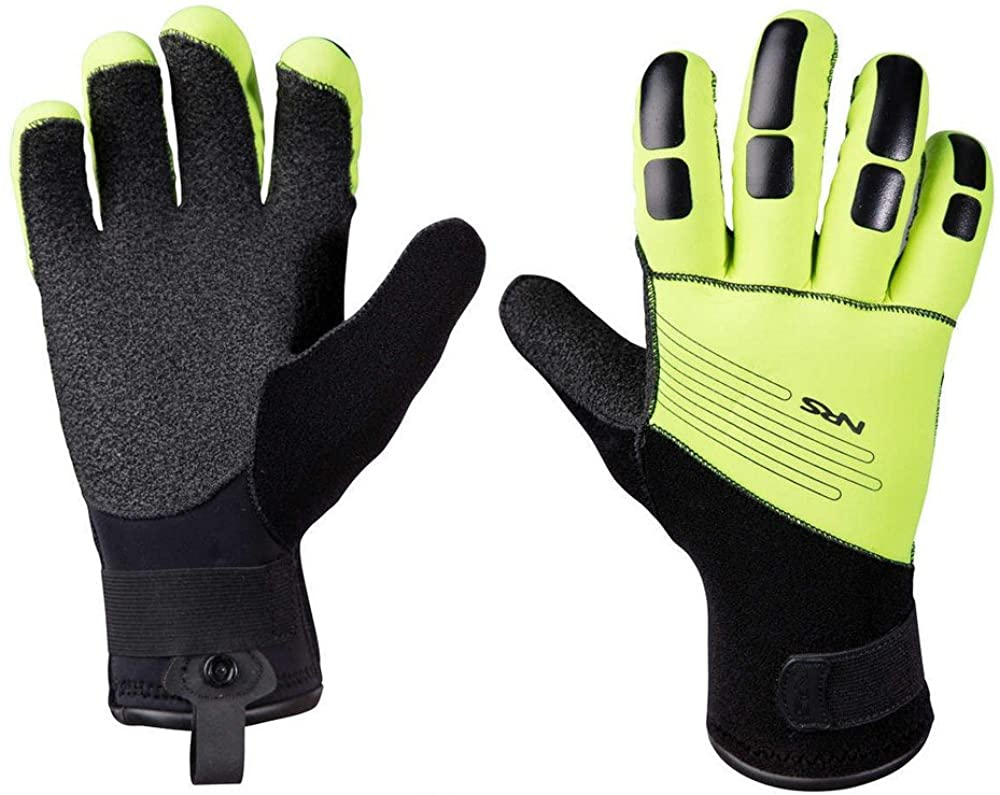 NRS Reactor Rescue Gloves, Black/Green, 2016