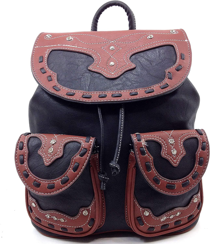 Zelris Western Vintage Pu Leather Rhinestones Conceal Carry Rucksack Backpack