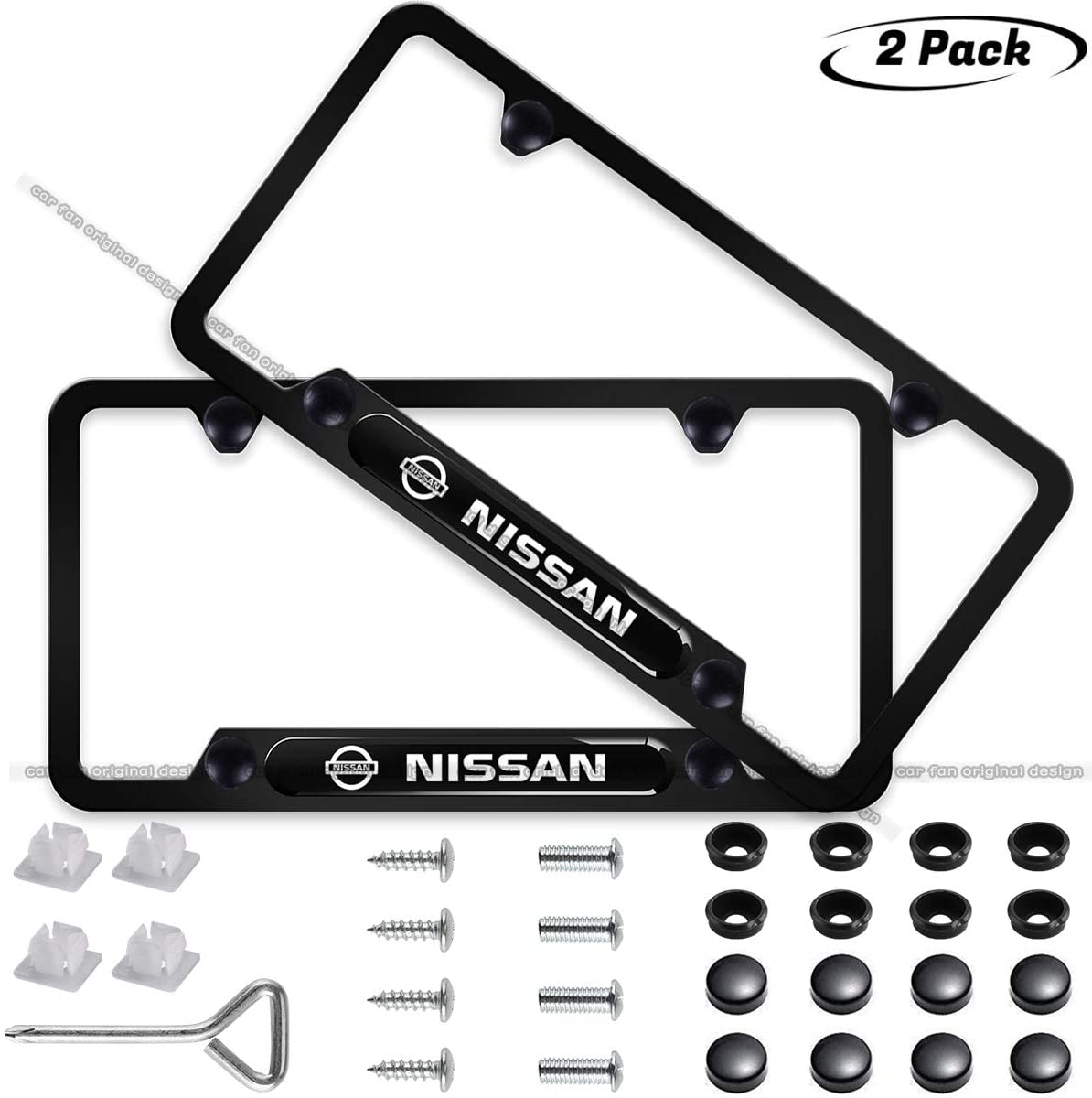CAR FAN 2-Pieces Black License Plate Frame for Nissan,Silent Tough,Better Decoration of Your License Plate Frame (fit Nissan)