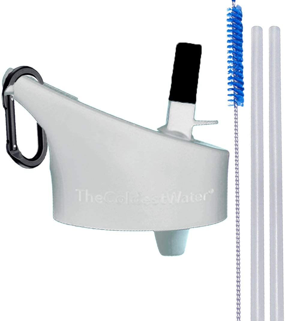 The Coldest Water Insulated Wide Mouth Size 2.0 - Hydro Sports Straw Cap Flip Top Lid - Multi-Compatible with Wide Flask Mouth Size Stainless Steel Water Bottles (White 2.0)