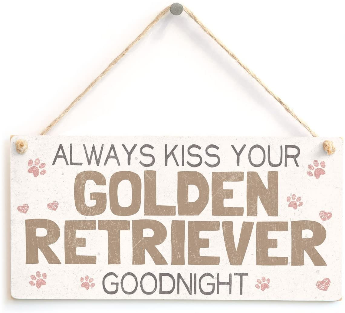 Meijiafei Always Kiss Your Golden Retriever Goodnight - Super Cute Dog Home Accessory Novelty Gift Sign for Golden Retriever Dog Owners 10 x 5