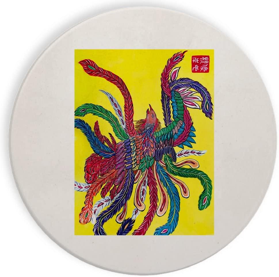 Bird with Colorful Feathers Mural Yuya Negishi YUYART - Ceramic Stone Coaster Coasters Set of Four