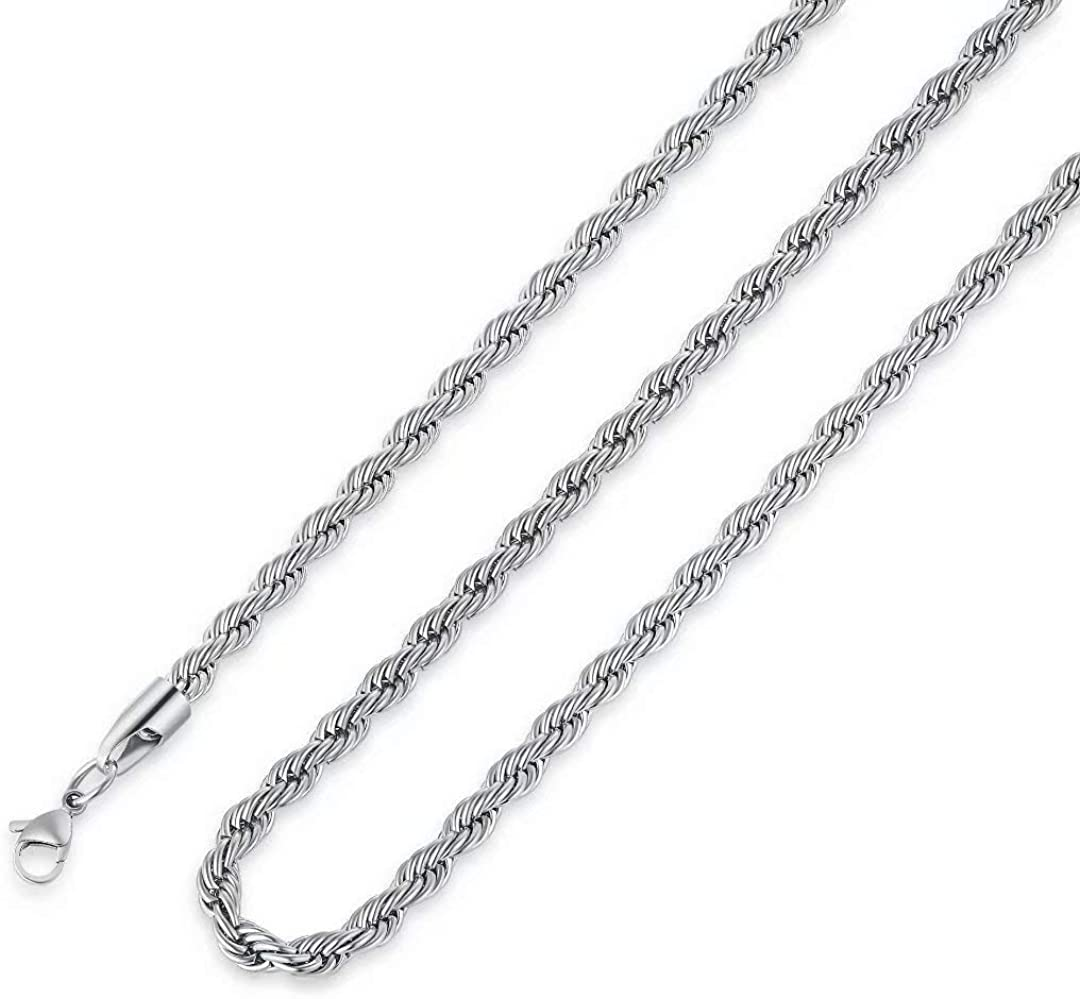 M MOOHAM 2.5MM 3MM 4MM 5MM Black Silver Gold Plated Stainless Steel Twist Rope Chain Necklace for Men Women 16-36 Inch
