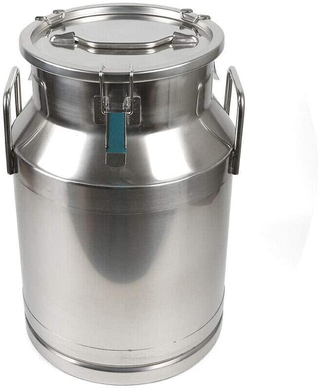 DYRABREST 10 Stainless Steel Milk Can, 20L/30L/40L/50L/60L Milk Bucket Wine Pail Bucket Tote Jug with Sealed Lid (30L)