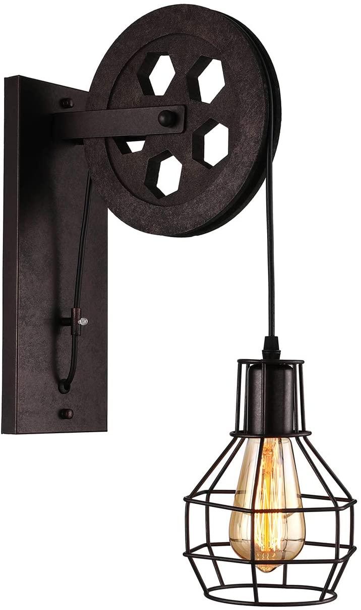 KWOKING Lighting Lift Pulley Industrial Light Fixture Vintage Adjustable Wall Sconce 1 Light Barn Lighting in Rust