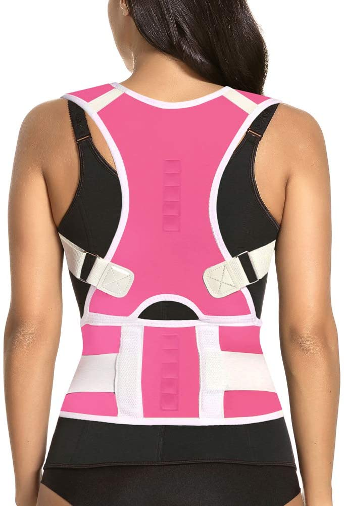 Thoracic Back Brace Posture Corrector - Magnetic Support for Neck Shoulder Upper and Lower Back Pain Relief - Perfect Posture Brace for Cervical Lumbar Spine - Fully Adjustable Belt (Pink, X-Large)