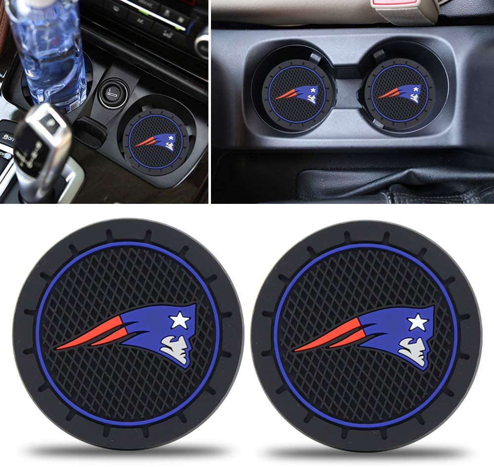 2PCS Car Cup Holder Coaster for New England Patriots, 2.8 Inch Car Interior Accessories Durable Non Slip Silicone Logo Cup Mat for All Vehicles (for Patriots)