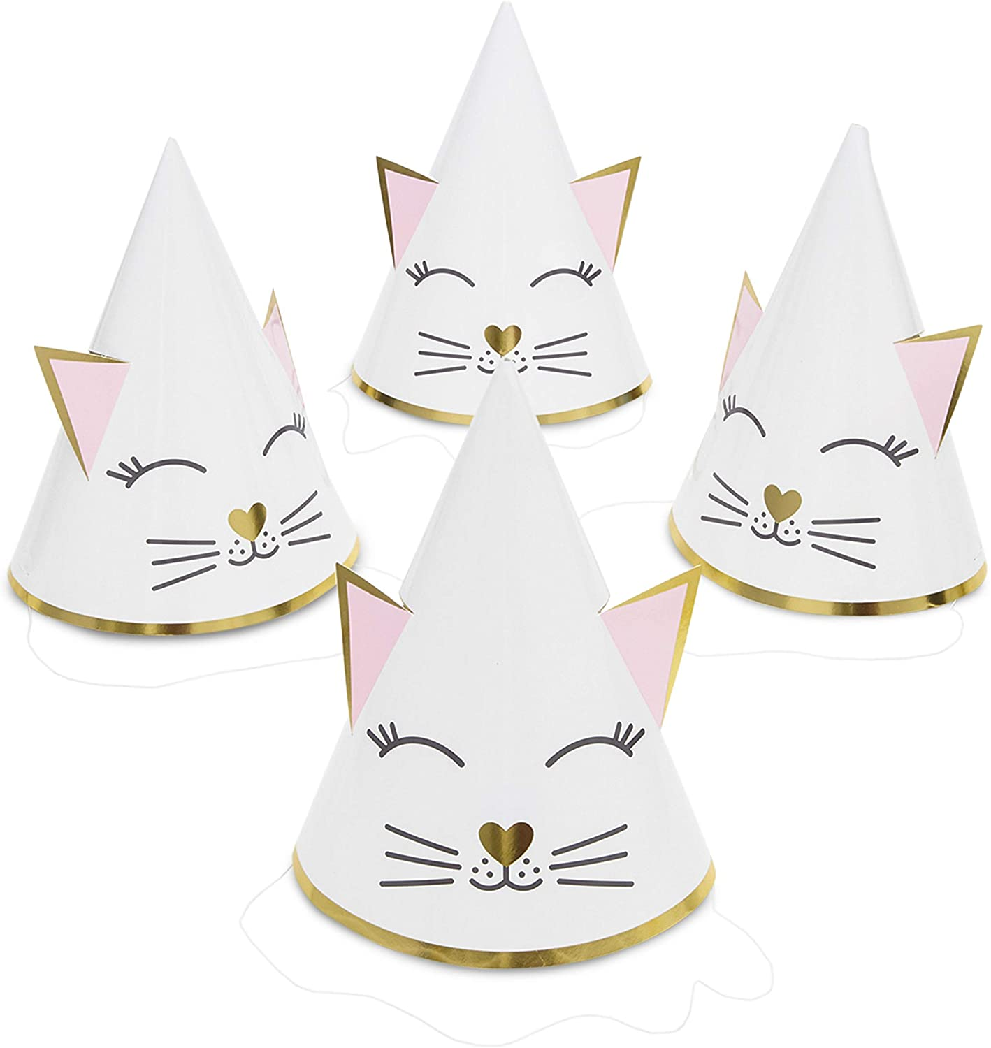 Cat Birthday Party Cone Hats (White, Pink, 24 Pack)