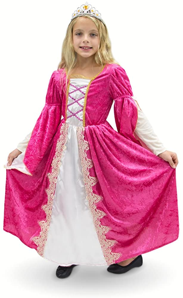 Regal Queen Princess Pink Victorian Party Dress Kids Premium Halloween Costume (Youth Large (7-9))