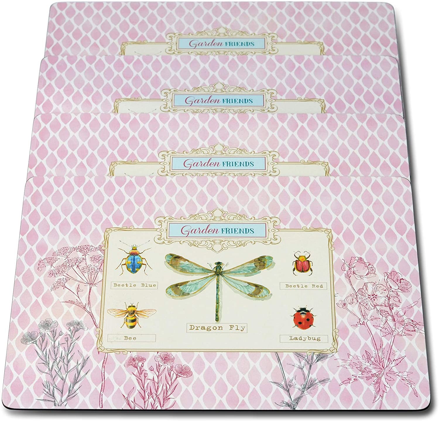 Summer Garden Friends Placemats, Laminated Boards, Cork Backing, Set of 4, Rustic Pale Pink Background with Multi Color Accents, 15 3/4 x 11 1/4 Inches, Heat Resistant