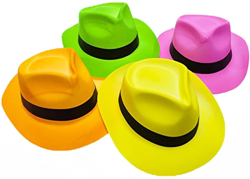 Novelty Place Neon Plastic Party Hats, Fedora with Gangster Mafia Style, UV Blacklight Glow Party Stars Rave Hats for Kids and Teens in Birthday, Concerts, Music Party (Pack of 12)