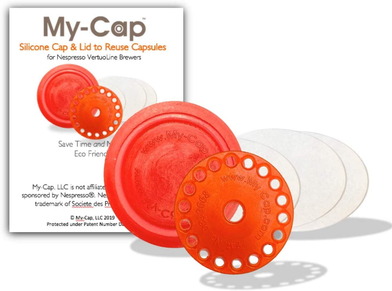 My-Cap's Silicone Cap and Lid to Reuse Capsules for Nespresso VertuoLine Brewers (Papaya Color)