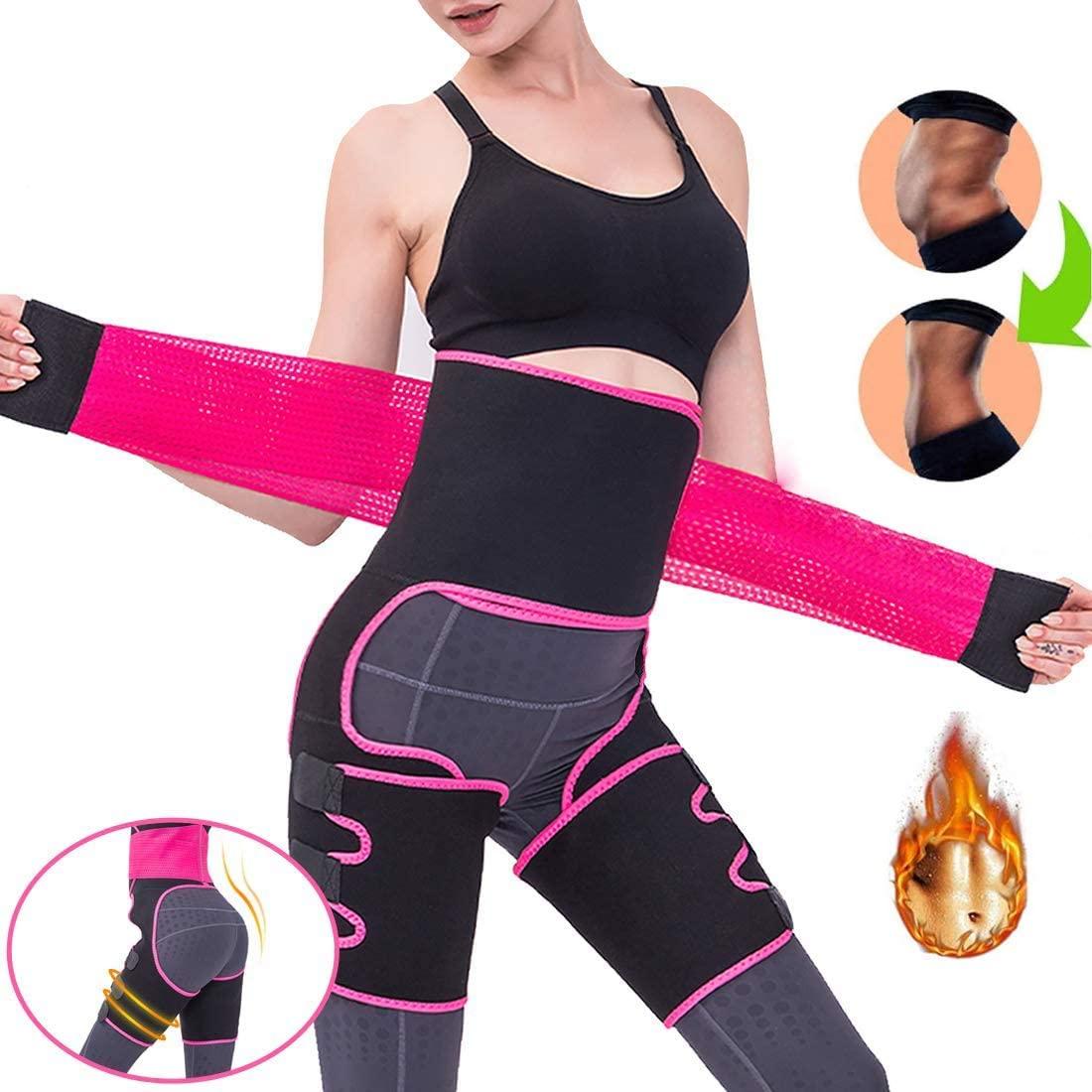 DAWNDEW 2020 Upgraded Waist Trainer for Women, Thigh Trimmer,Fitness Weight Butt Lifter Slimming 3 in 1 Adjustable Hip Enhancer, Hips Belt Trimmer, for Women Body Shaper Workout Fitness Training