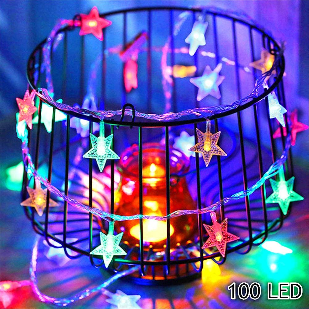 Twinkle Star 100 LED 49 FT Star String Lights, Plug in Fairy String Lights Waterproof, Extendable for Indoor, Outdoor, Wedding Party, Christmas Tree, New Year, Garden Decoration, Multi-Color