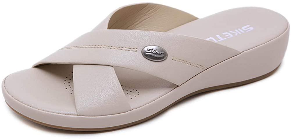 Women's Wedge Sandals Comfortable Soft Leather Platform Sandal Summer Outdoor Open Toe Cross-Strap Slide Sandals