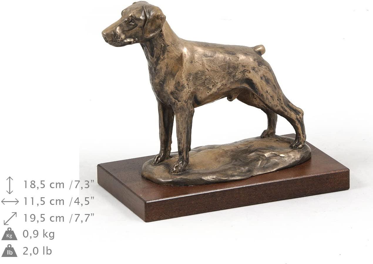 Doberman (Uncropped), Dog Figure, Statue on Woodenbase, Limited Edition, Artdog