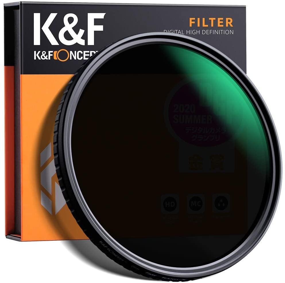 K&F Concept 58mm Variable Neutral Density Filter Slim Fader ND Filter 58mm ND2 to ND32 for Camera Lens NO X Spot,Nanotec,Ultra-Slim,Weather-Sealed