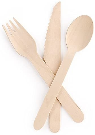 Disposable Wooden Cutlery Set |100 Forks, 50 Knives, 50 Spoons | Eco Friendly & Biodegradable, Compostable| 100% Natural Birchwood Cutlery (200 pieces)