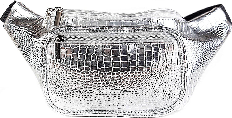 SoJourner Holographic Rave Fanny Pack - Packs for festival women, men | Cute Fashion Waist Bag Belt Bags (Silver Gator)