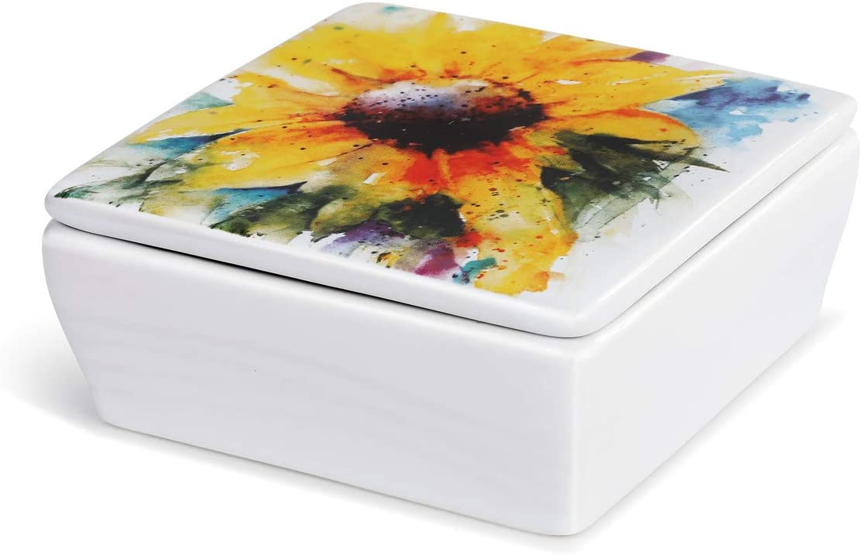 DEMDACO Dean Crouser Sunflower Watercolor Yellow 4 x 4 Ceramic Stoneware Decorative Lidded Vanity Box