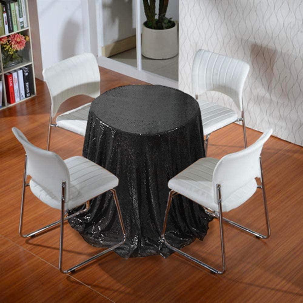 AIXHN Sequin Tablecloth Black 72