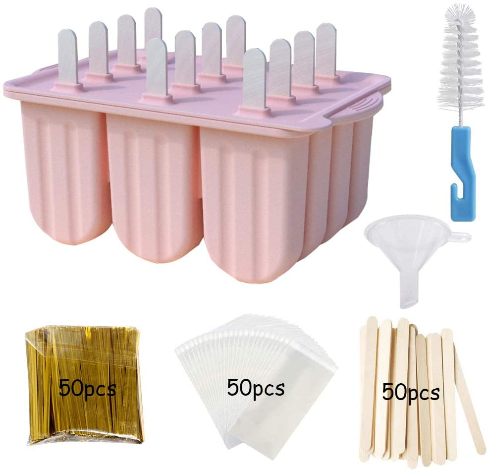 Popsicle Molds 12 Cavities Silicone Ice Pop Maker with Wooden Sticks Reusable DIY Ice Pop Mold Set for Kids and Adults (Pink)