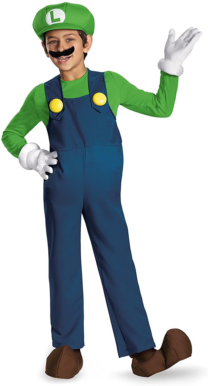 Disguise Boy's Nintendo's Super Mario Brothers Luigi Deluxe Costume, Blue, Large