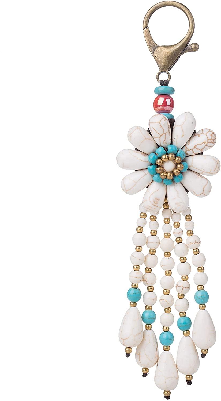 Bohemian Handmade Long Tassels Stone Beaded Woven Bag Pendant Charm Keychain Keyring for Handbag