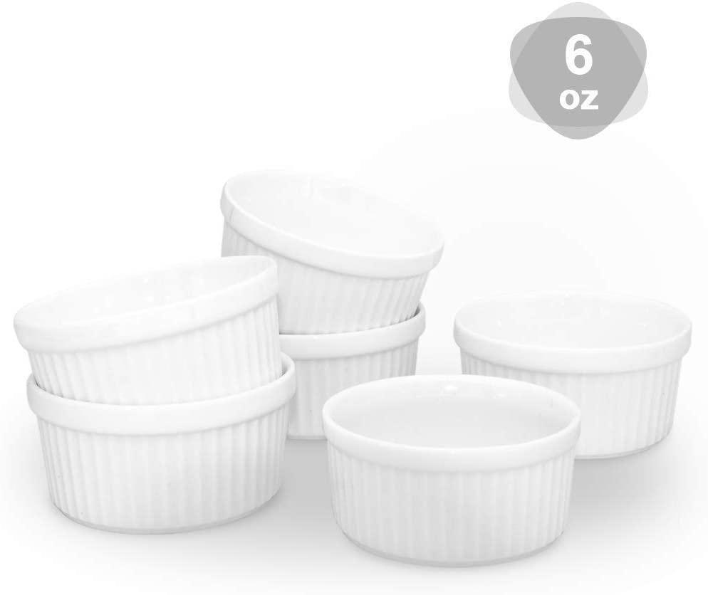KitchenTour Porcelain Souffle Dishes 6 Ounces Ramekins for Baking Souffle, Creme Brulee - Set of 6