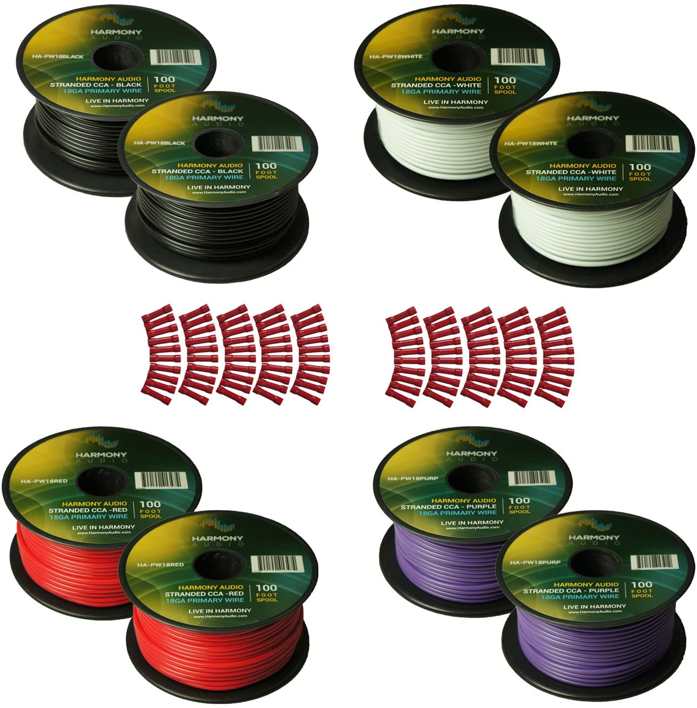 Harmony Audio Primary Single Conductor 18 Gauge Power or Ground Wire - 8 Rolls - 800 Feet - 4 Color Mix for Car Audio/Trailer/Model Train/Remote