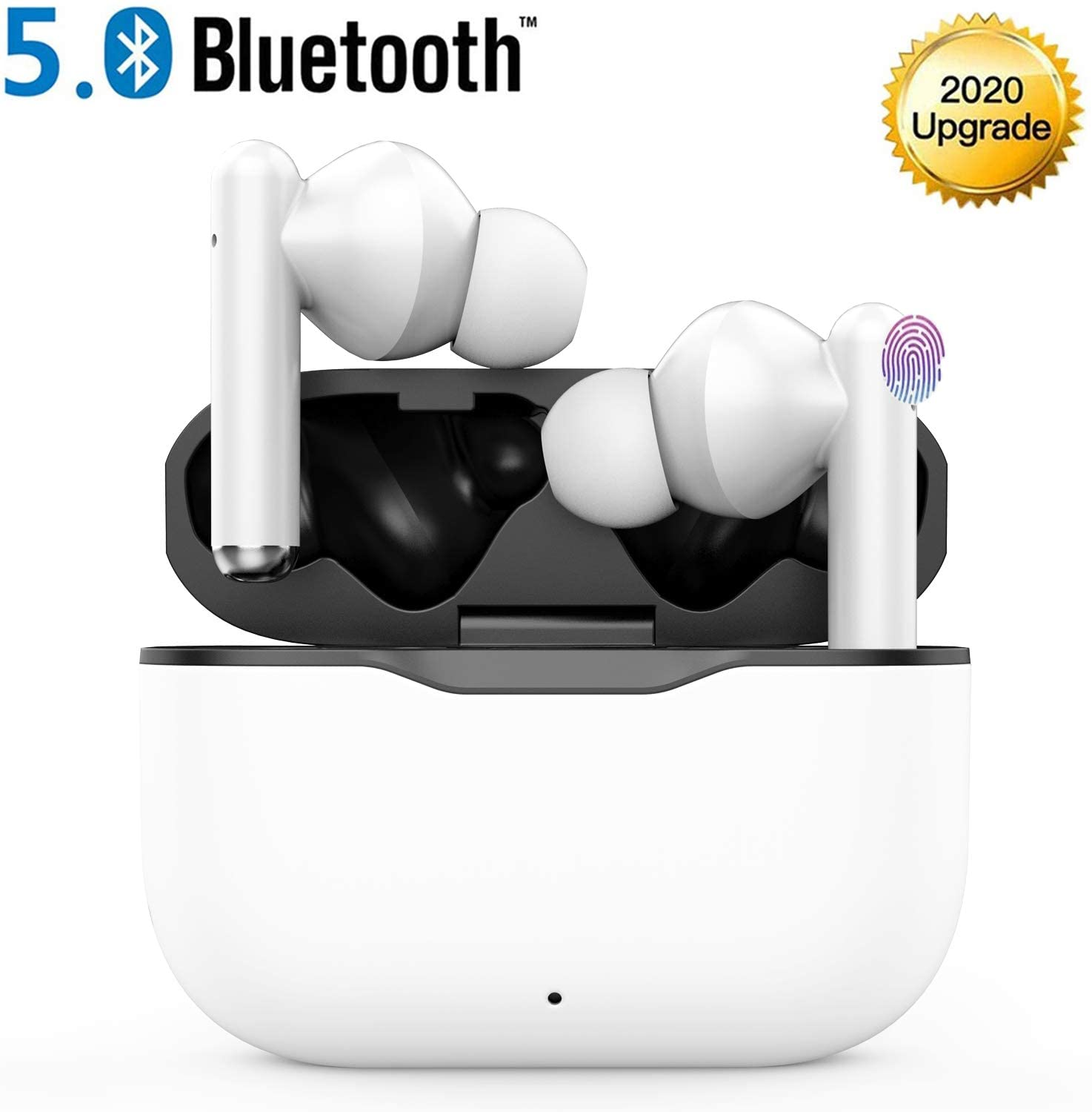 Wireless Earbuds, Bluetooth 5.0 TWS Stereo Wireless Earbuds Microphone Web Meeting Waterproof Bluetooth Headphones Touch Control Wireless Earphones with Charging Case Headset