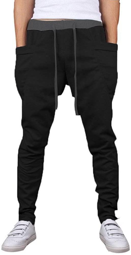 Mooncolour Men's Solid Colors Casual Jogging Harem Pants with Pockets