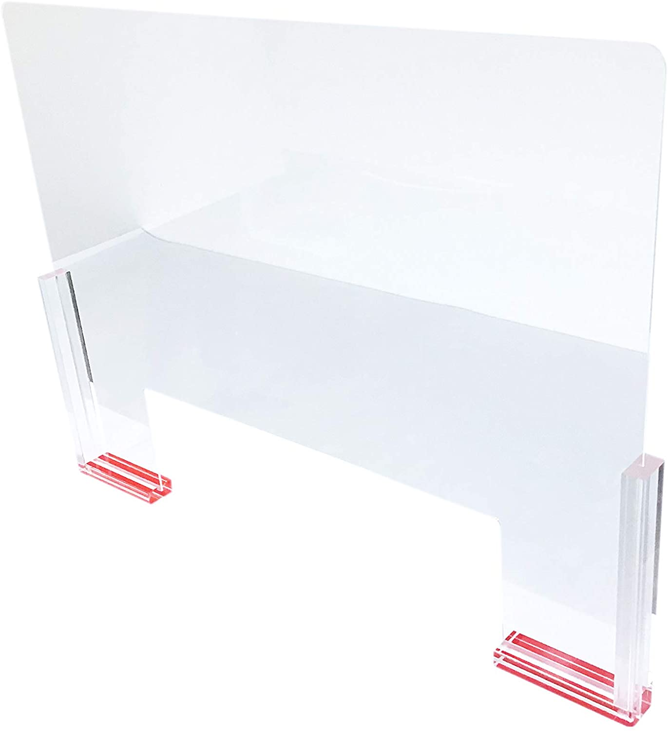 1 Qty - Extra Large Acrylic Glass Sneeze Guard (31 1/2 x 24) w/Adhesive Mount Base - For Retail/Administration/Reception - NicePackaging