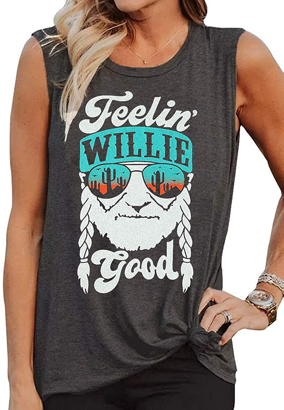 LANMERTREE Willie Nelson T Shirt Feelin Willie Good Women Graphic Tank Tops Country Music Summer Sleeveless Workout tees