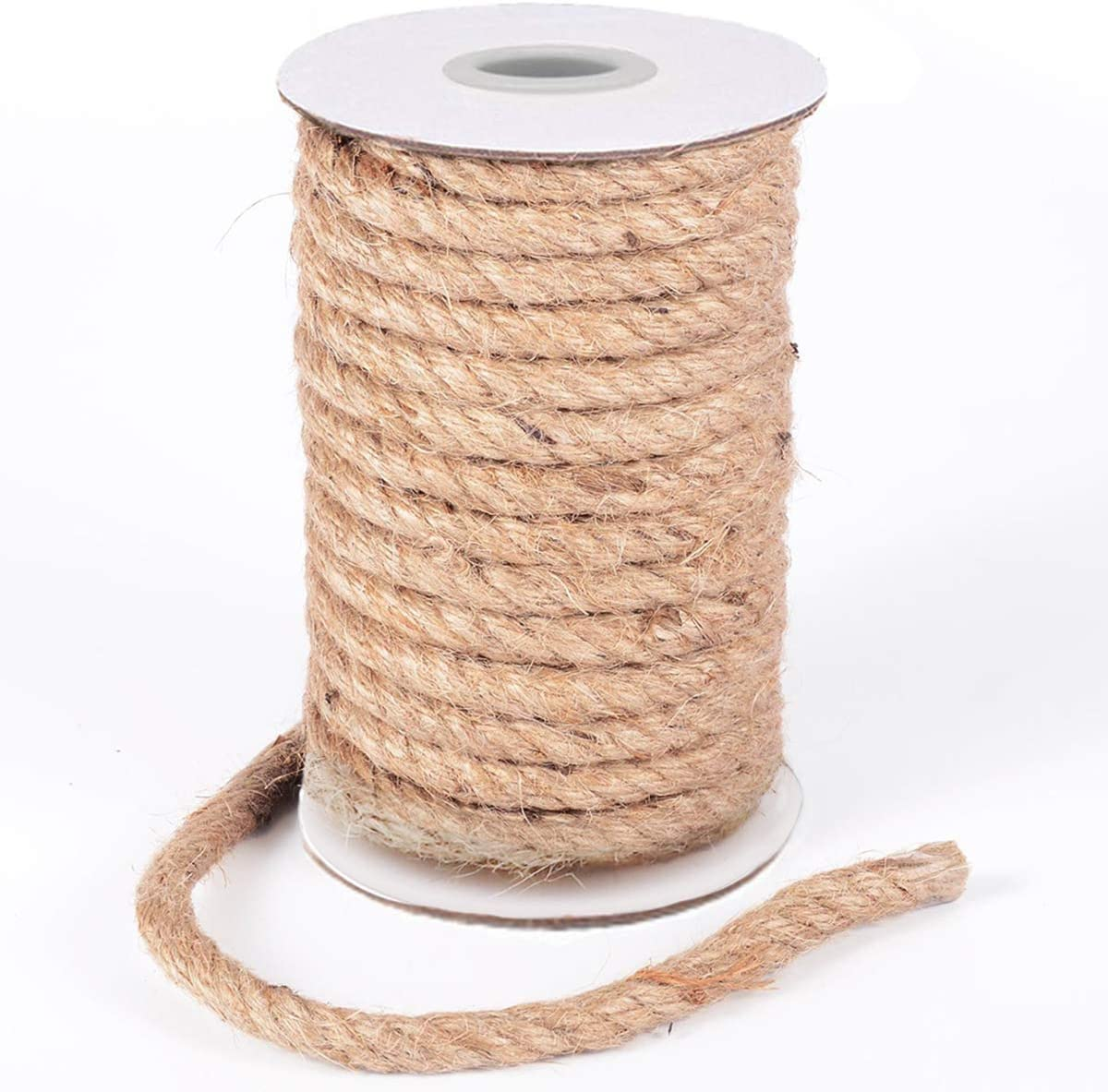 HOMYHOME Jute Rope 10MM Natural Jute Burlap Twine String Hessian Rope Cord Craft for Industrial, Packaging, Arts,Crafts, Gifts, Decoration, Bundling, Gardening and Home 32Feet