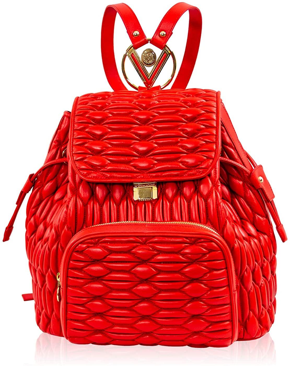 Valentino Orlandi Womens Large Handbag Backpack Italian Designer Purse Flame Scarlet Red Genuine Leather Tote Top Handle Satchel Sling Bucket Bag in Quilted Design