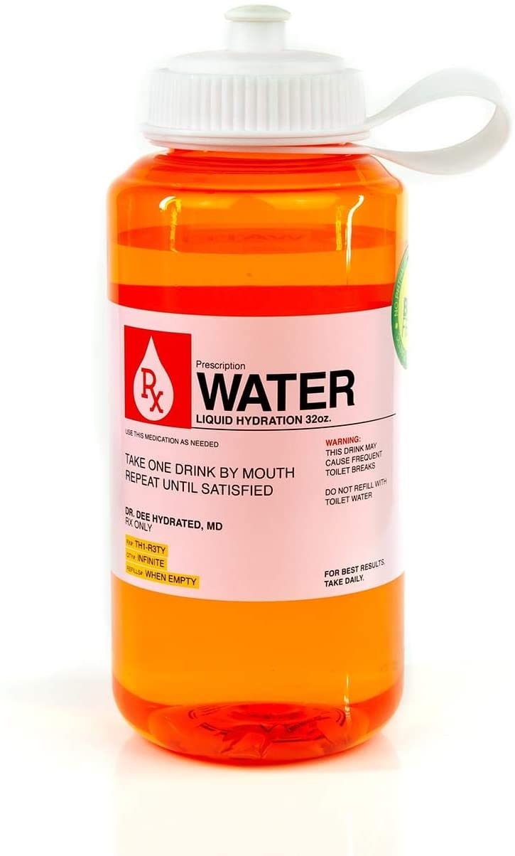 Prescription Water 32 Oz Plastic Water Bottle With Lid - Wide-Mouth, BPA-Free Novelty Hydroflask - Fun, Unique Orange Medicine Bottle With Screwtop Cap Design - Hydration Enthusiast Gift Idea