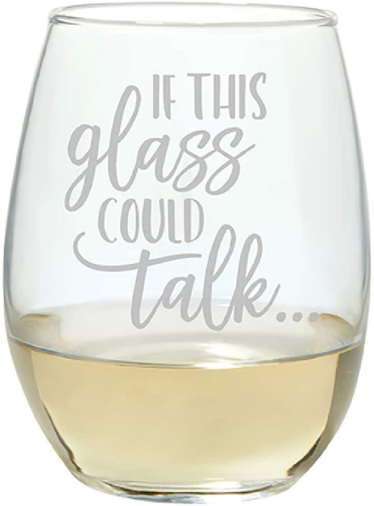 Carson 23684 Glass Could Talk Stemless Wine Glass, 17-ounce, Clear