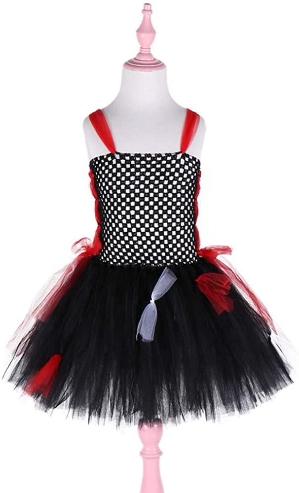 EUSIX Girl Tutu Skirt Princess Dress Vampire Role Playing Net Gauze Dress Lace Puffy Dress for Halloween Costume for Girls