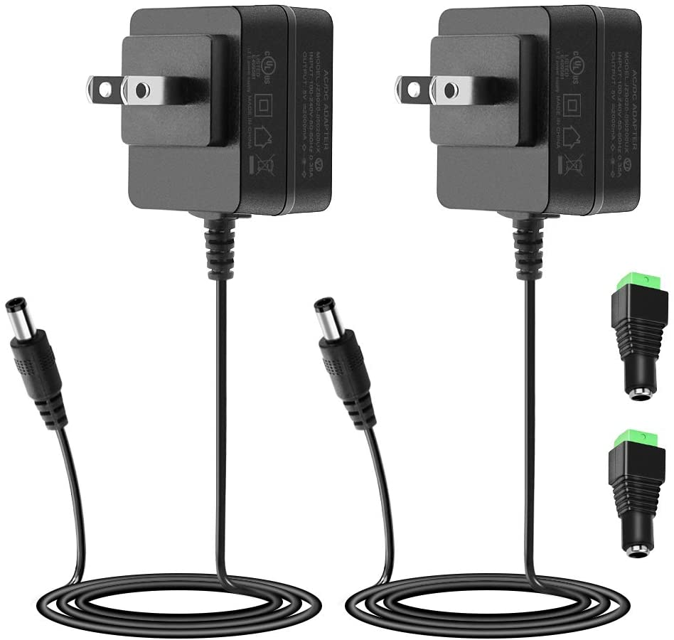 SHNITPWR 5V 2A Power Adapter Supply 10W UL Listed AC to DC Converter Transformer 100V~240V AC Input with 5.5x2.1mm Tip for WS2812B LED Pixel Raspberry Pi Arduino, Level VI Energy Efficiency, 2 Pack