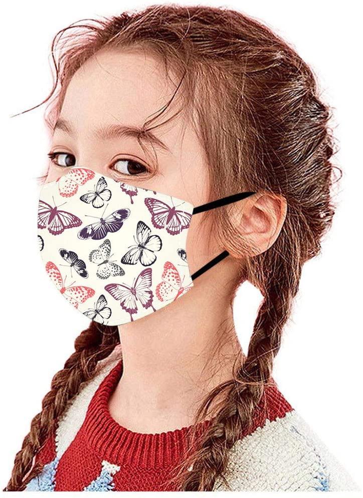 Basysin Butterfly Cute Printed Cloth Fabric Kids Girls Boy Adjustable Reusable Breathable Fashion Washable Bandanas 1PC