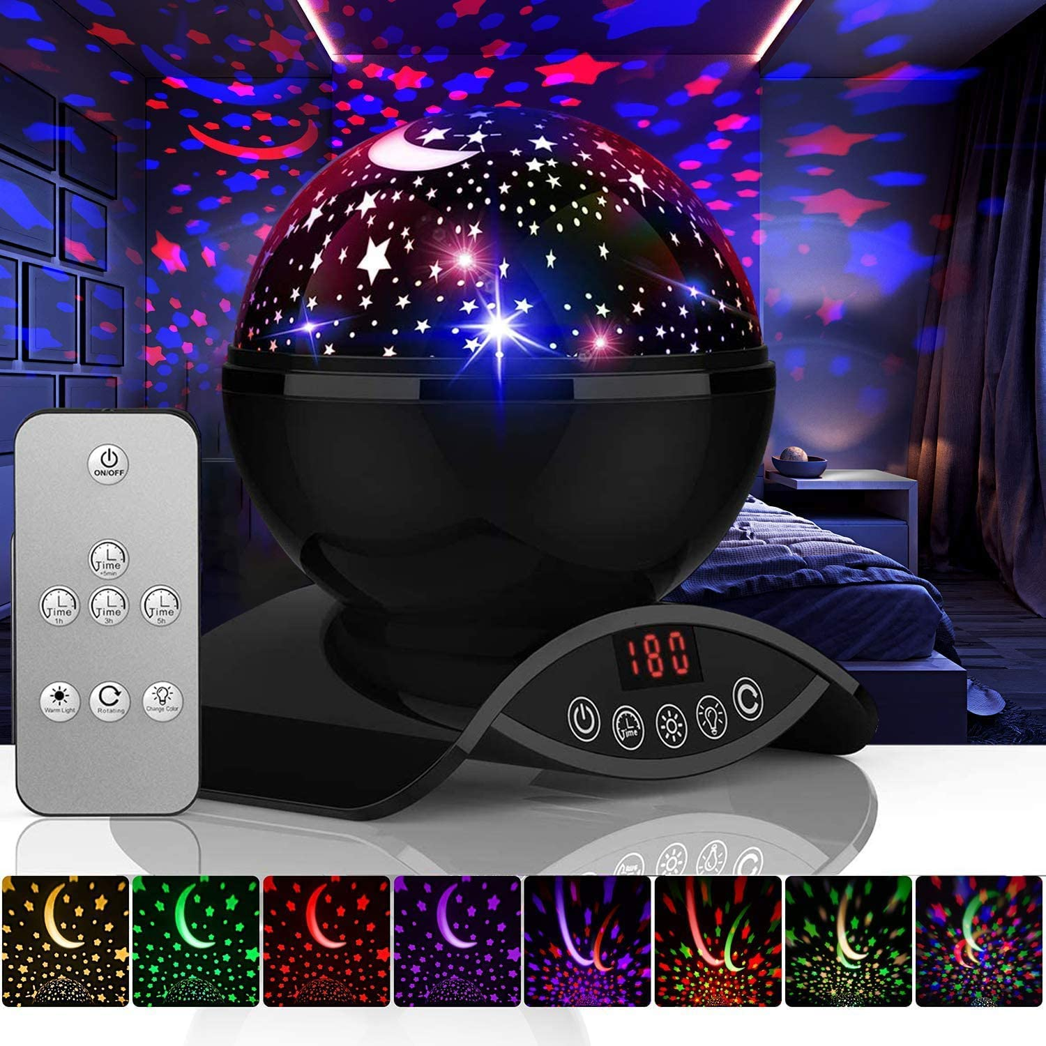 YSD Night Lighting Lamp, Modern Star Rotating Sky Projection, Romantic Star Projector Lamp for Kids, USB Rechargeable & Remote Control, Best Gifts for Kids,Bedroom(Upgrade)