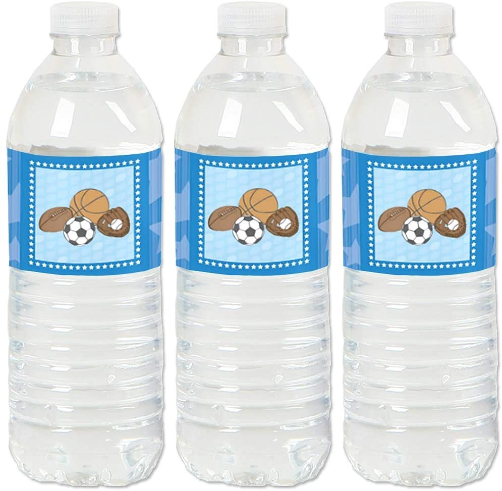 All Star Sports - Baby Shower or Birthday Party Water Bottle Sticker Labels - Set of 20